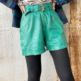 Used Leather Short Pants with belt GREEN