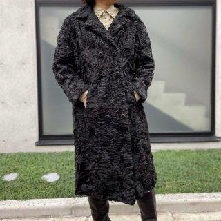 Vintage W button Fur Coat