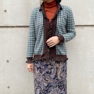 Used Frill Collar Knit Cardigan