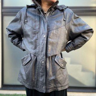 Used Hoodie Leather Jacket