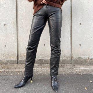 Used Leather straight Pants BLACK