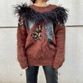 Used Feather Decollation Mohair Sweater