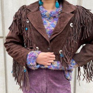 Used Suede Beads Fringe Short Jacket