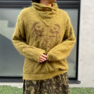 Used Mohair Knit Sweater KHAKI