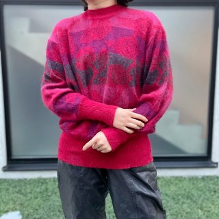 Used Mohair Flower Border Knit Sweater RED