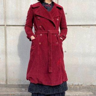 Used Corduroy Long Coat WINE(as is)