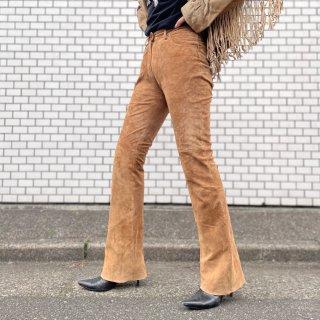 Used Suede Flare Pants BEIGE