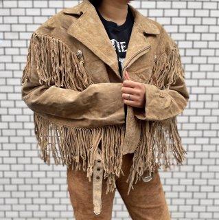 Used Suede Fringe Short Jacket BEIGE