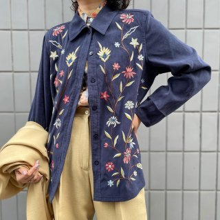 Used Fake Suede Flower Embroidery Jacket