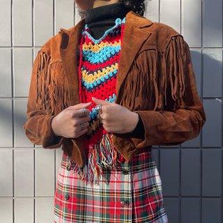 Used Suede Fringe Short Jacket CAMEL