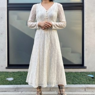 Used White Lace Long Dress