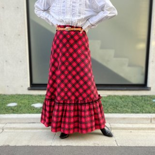 Used Red Check Long Skirt