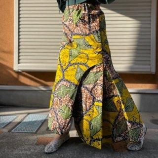 Used African Batik Long Skirt YELLOW