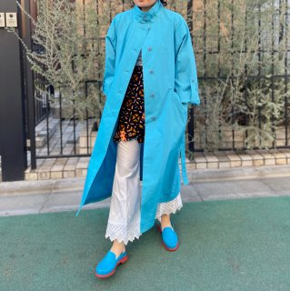 Used Stand Collar Spring Coat BLUE