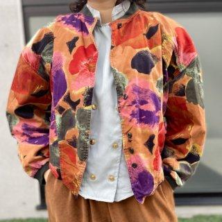 Used Water Flower Print 80s Jacket