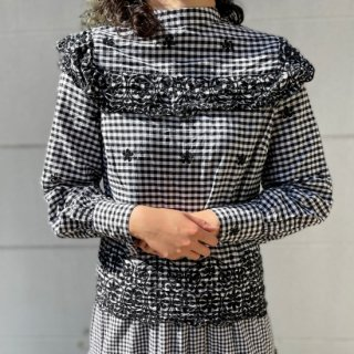 Used Gingham Check Frill Top