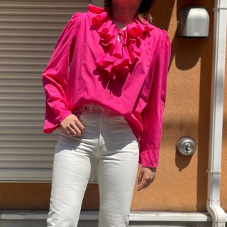 Used Pink Frill Collar Top