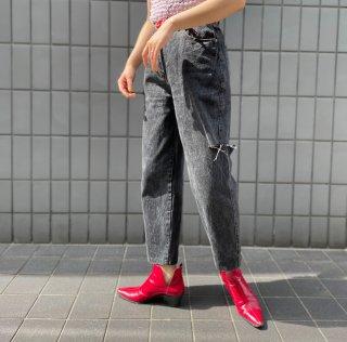 Used Cut Damage Denim Pants BLACK