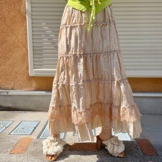 Used Pleats Tiered Skirt