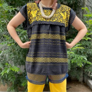 Used Ethnic Embroidery Top BLACK/YELLOW