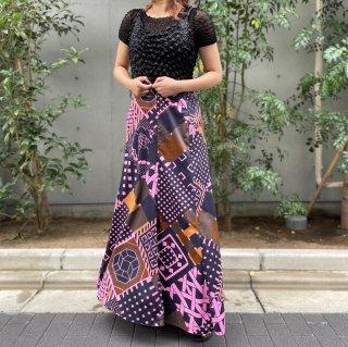 Used Japanese-like Print Long Skirt