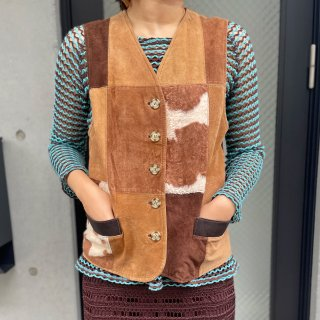 Used Patchwork Suede Vest