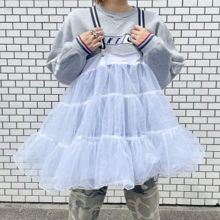 Remake CAN CAN Suspender Skirt Top - WHITE -