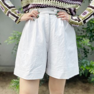 Used White Leather Culotte Pants