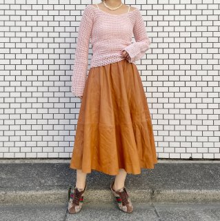 Used Leather Flare Skirt CAMEL