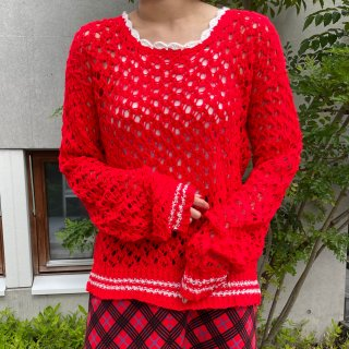 Used Red Line Knit Sweater