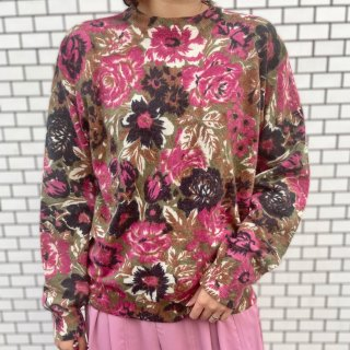 Used Flower Print Knit Sweater