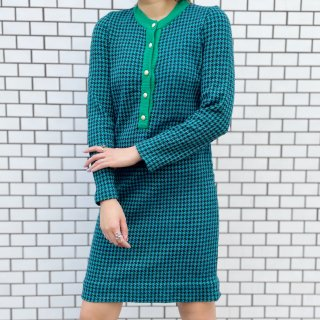 Used Houndstooth Retro Knit Dress