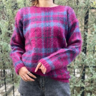 Used Check Mohair Knit Sweater