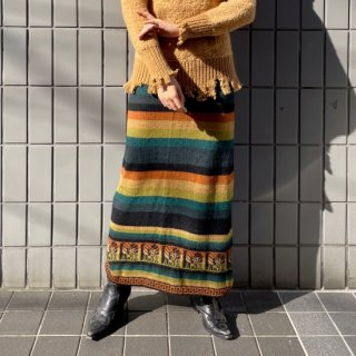 <img class='new_mark_img1' src='https://img.shop-pro.jp/img/new/icons14.gif' style='border:none;display:inline;margin:0px;padding:0px;width:auto;' />Used Multi Border Knit Long Skirt ORG/GRN