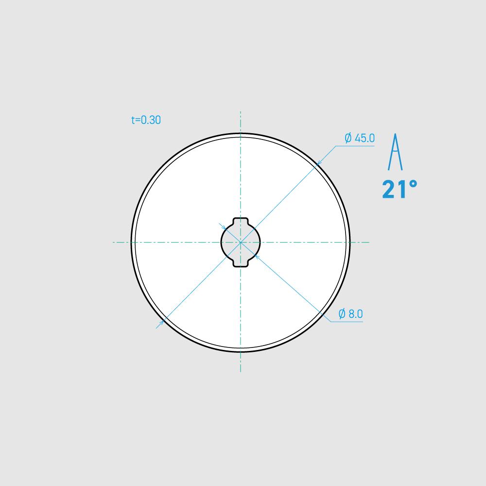 C450-1C 21° 炭素鋼 45mm 8枚入り