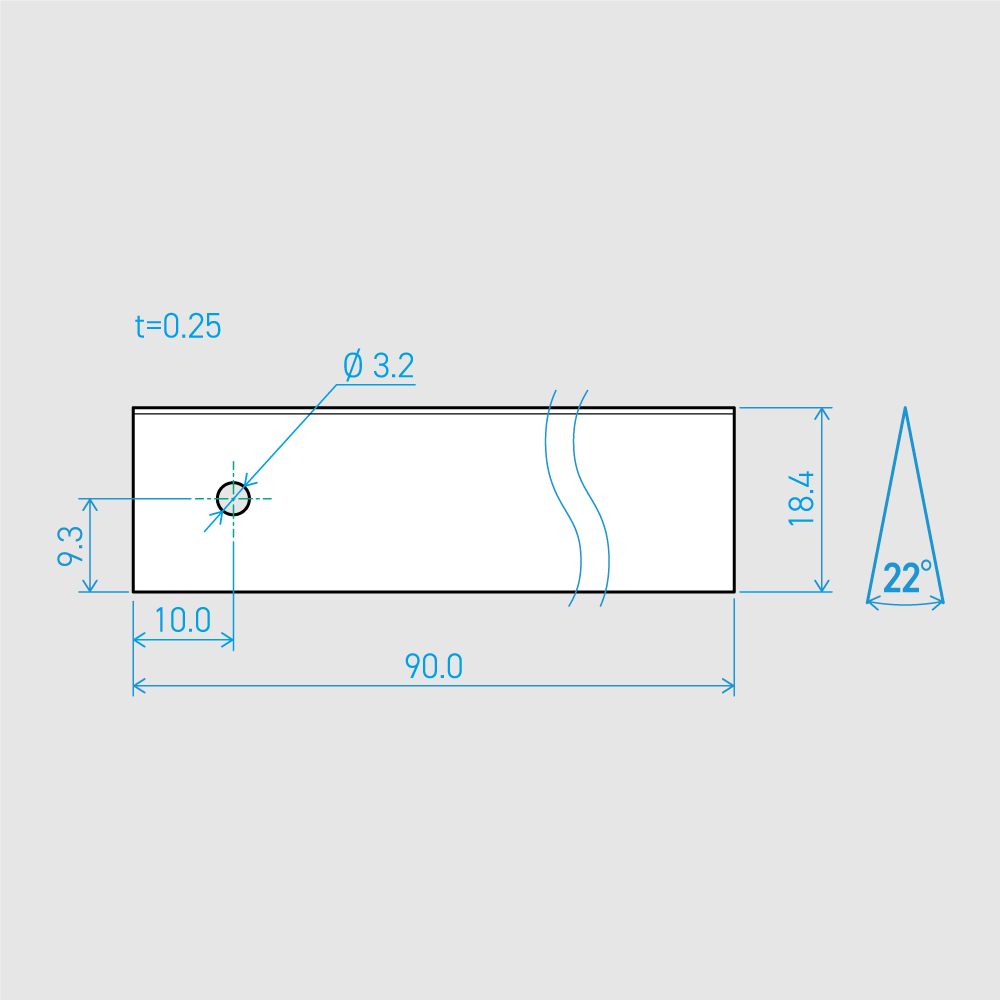 0.25×18.4×90L 22°(50枚セット)