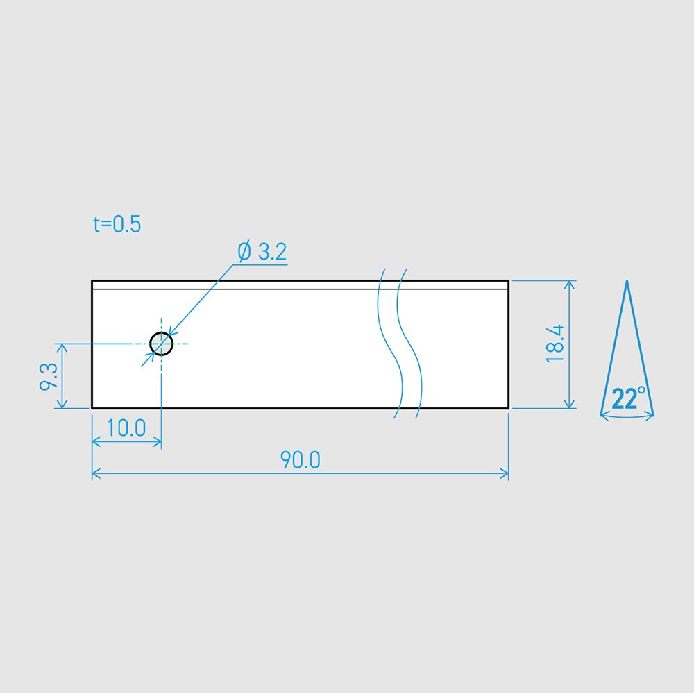 0.5×18.4×90L 22°(50枚セット)