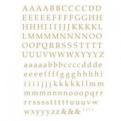 数量限定【転写紙】アルファベットB明朝体(ゴールド)Sサイズ 2枚セット(陶磁器用)