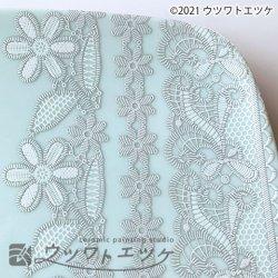 【デコレーション白盛り転写紙】フローラルレース(ホワイト&シルバーグレー) 陶磁器用