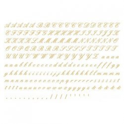 数量限定【転写紙】アルファベットA筆記体(ゴールド)SSサイズ(陶磁器用)