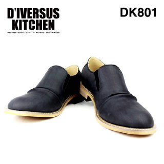 D'IVERSUS KITCHEN ディバーサス キッチン DK801 メンズ レザー調 スリッポン 楽 シューズ おしゃれ カジュアル きれいめ BLACK ブラック 黒