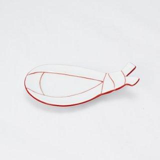 袋結び小皿 赤