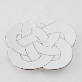 梅結び皿 プラチナ