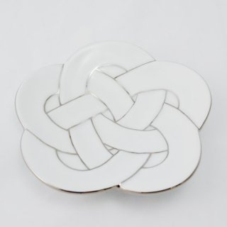 梅結び大皿 プラチナ