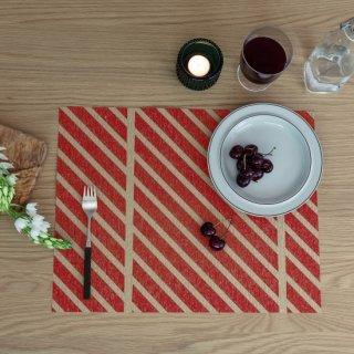 テーブルマット ストライプ グリーン&レッド