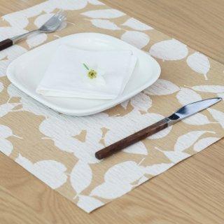 テーブルマット リーフ グリーン&ホワイト