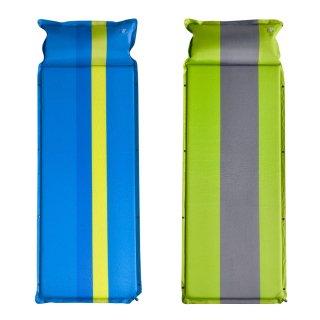 【2枚セット】 キャンピングマット 自動膨張 収納ケース付き SR-CM010 ブルー/グリーン
