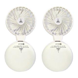 ハンディファン 充電式 2個セット 扇風機 小型ファン ミニ扇風機 フェス ウォーキング USB扇風機 携帯扇風機 小型 モバイルバッテリー LEDライト Landfield LF-MUW01-WH