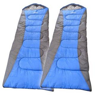 寝袋 封筒型 シュラフ 2枚セット 洗える 限界温度-15℃ コンパクトサイズ キャンプ アウトドア オールシーズン 春 夏 秋 冬 LandField LF-SR010-BLGY-2SET