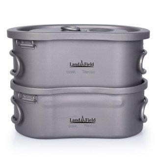 飯ごう チタン製 アウトドアクッカー 600ml 300ml セットメスティン 飯盒 キャンプ用品 LandField LF-TMT010